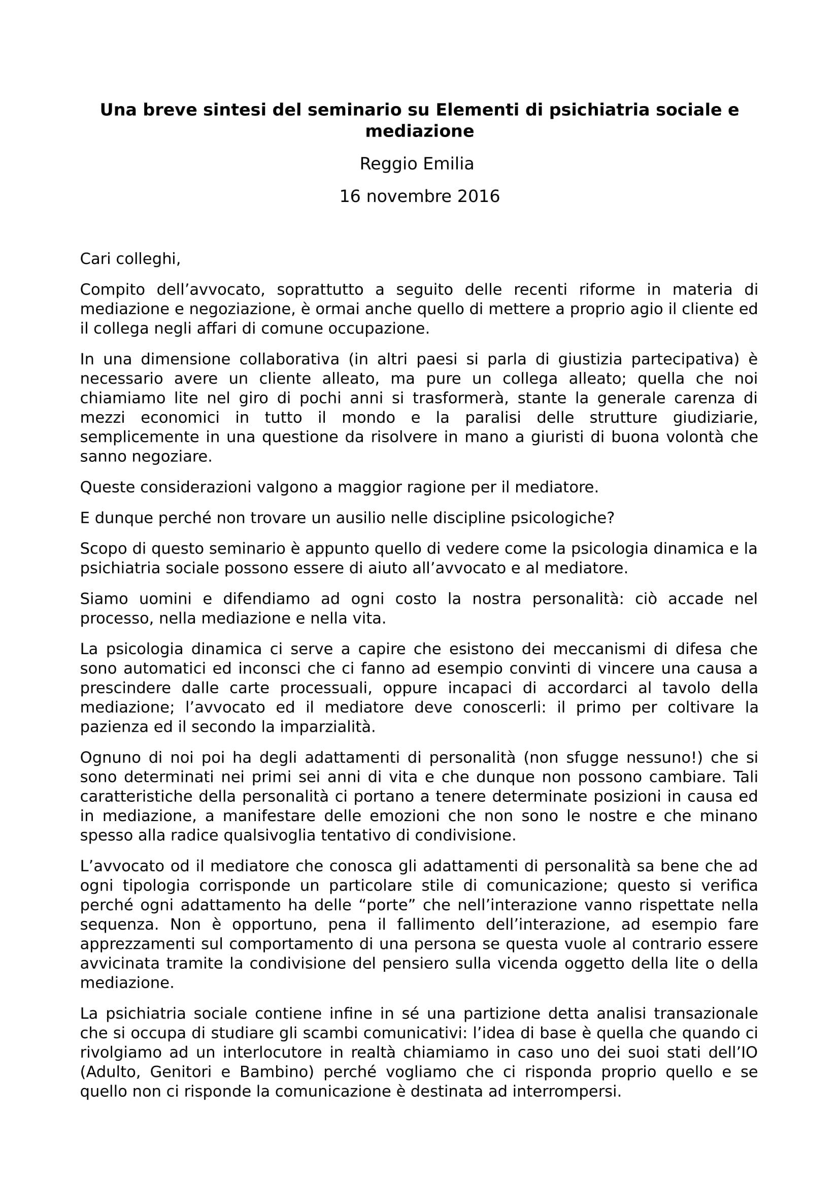 Mediazioni e discipline psicologiche un seminario a Reggio Emilia